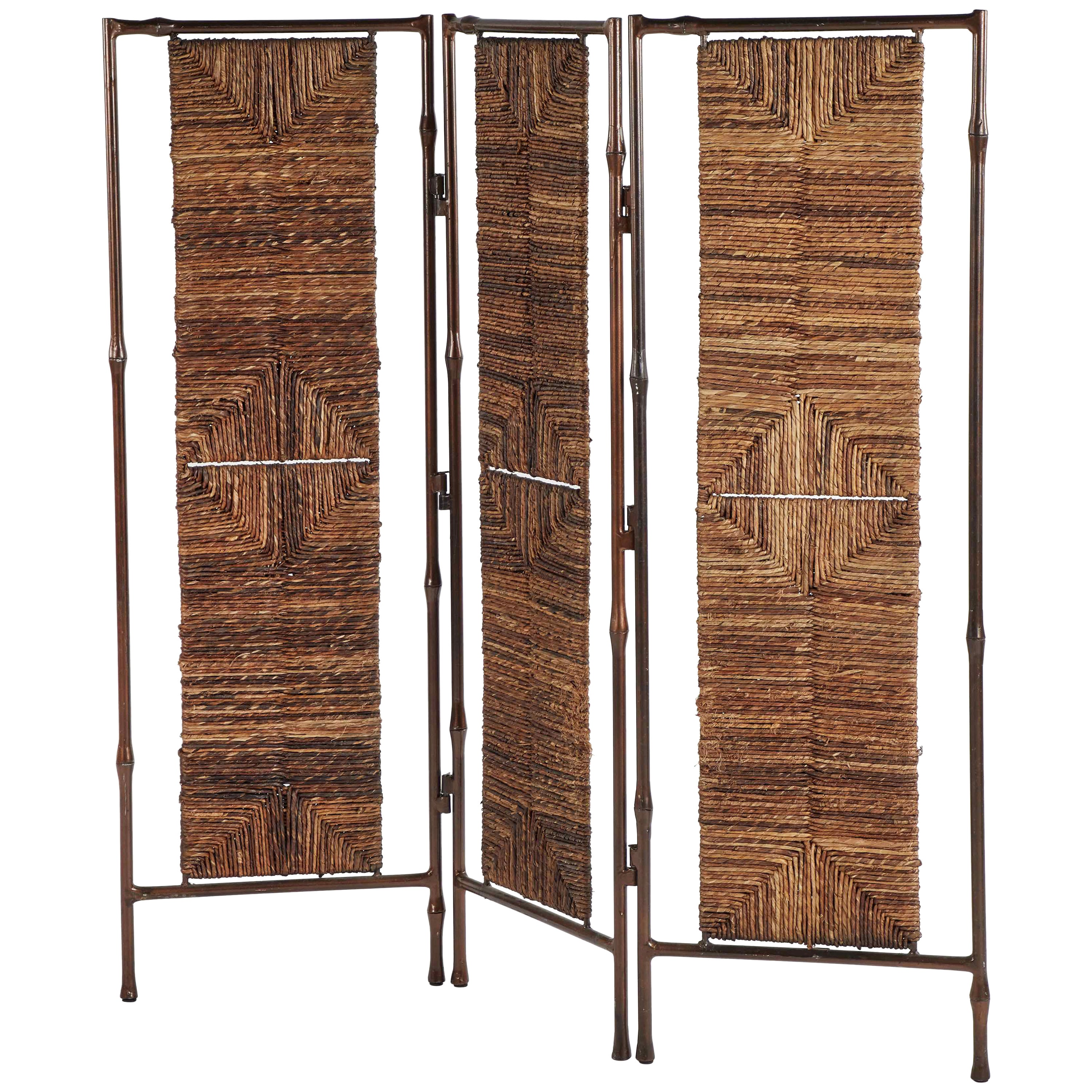 Metal and Rattan Screen or Room Divider from England