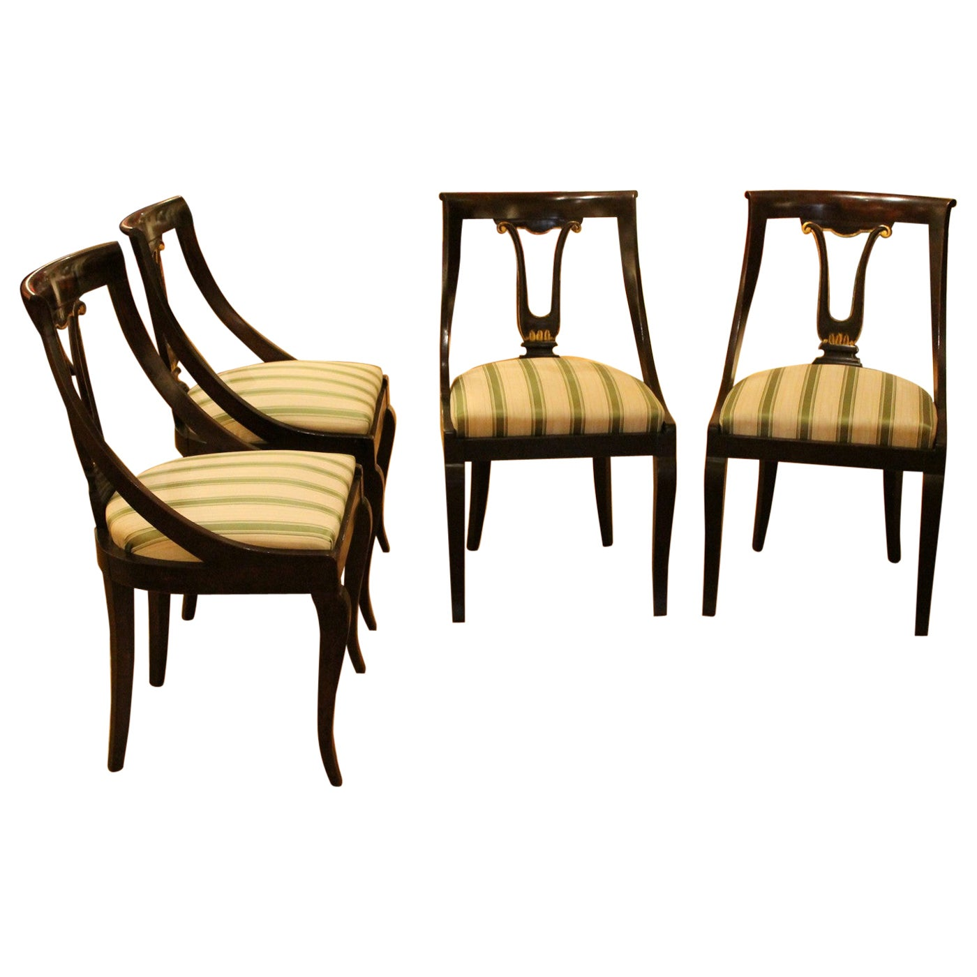 French 18th Century Directoire Mahogany Chairs with Silk Blend Upholster Fabric