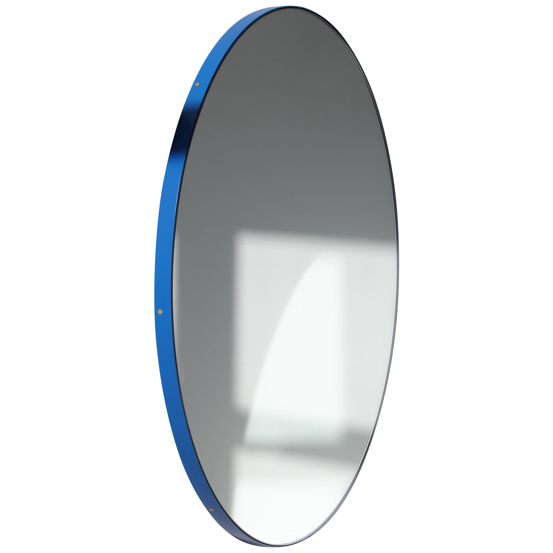 Orbis™ Round Modern Bespoke Mirror with Blue Frame, Oversized