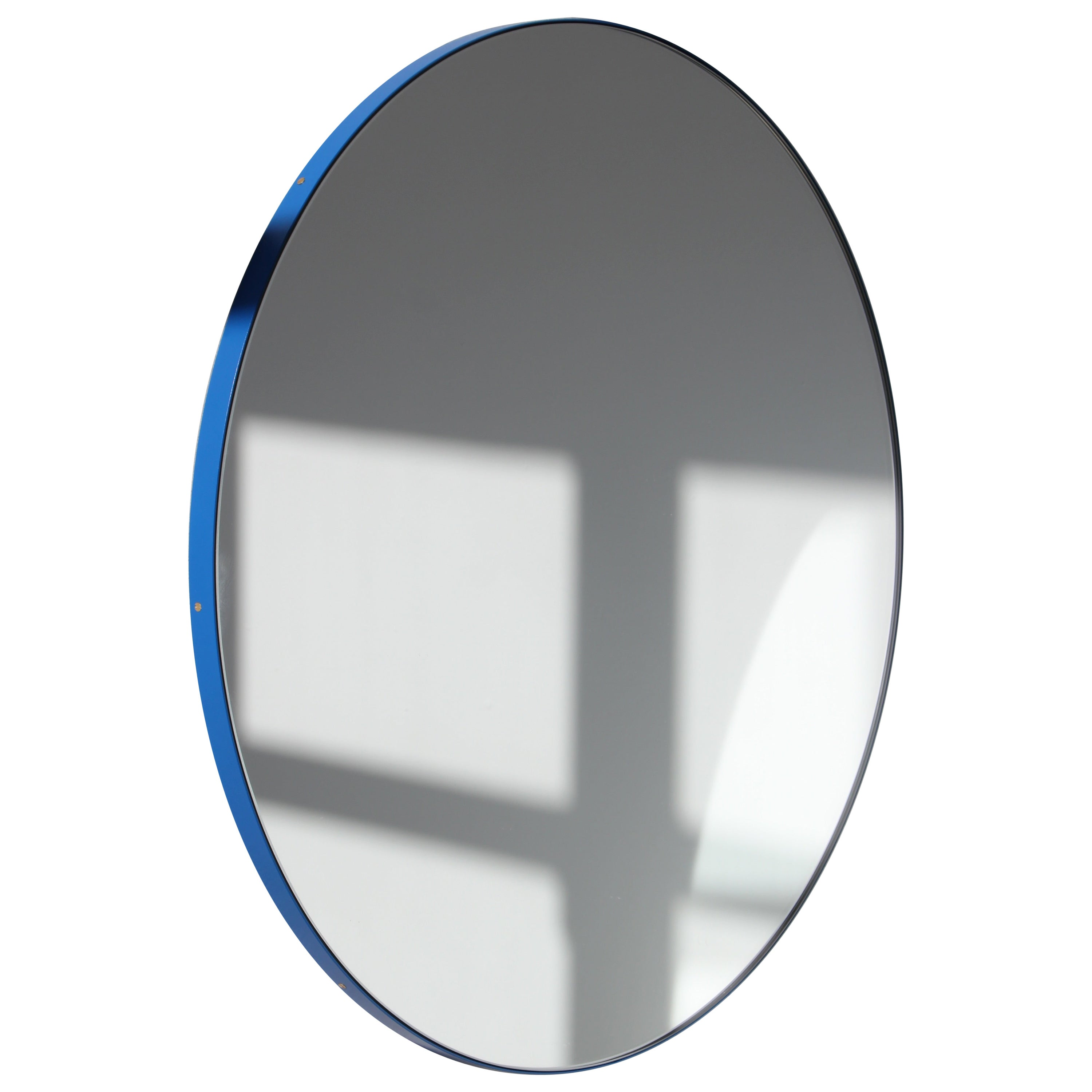Orbis™ Round Modern Customizable Mirror with Blue Frame - Large