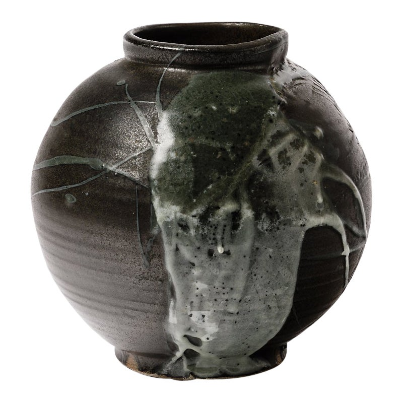 Stoneware Ceramic Black Abstract Pottery Vase by Claude Champy, 1975