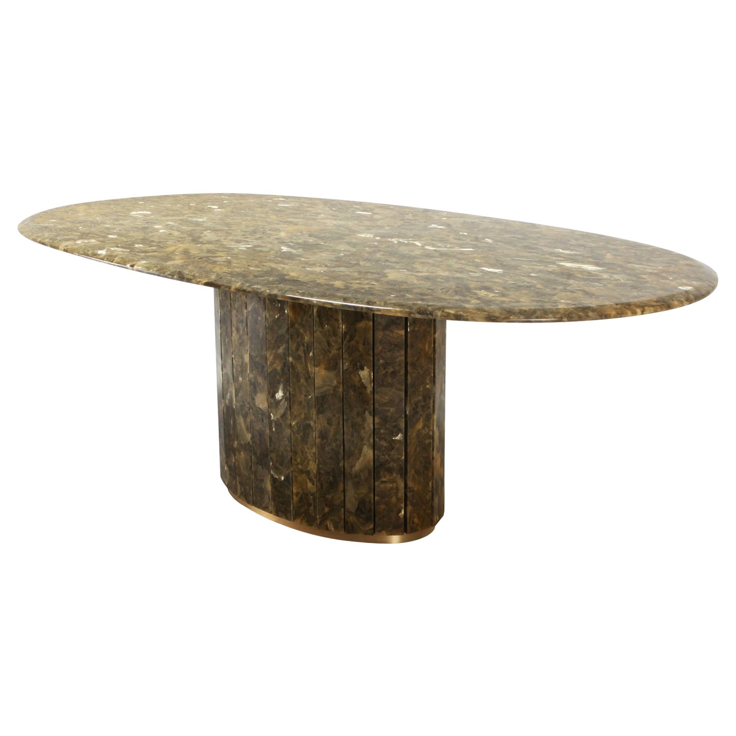 Onyx and Gold Leaf Marble Dining Table by Maison Charles
