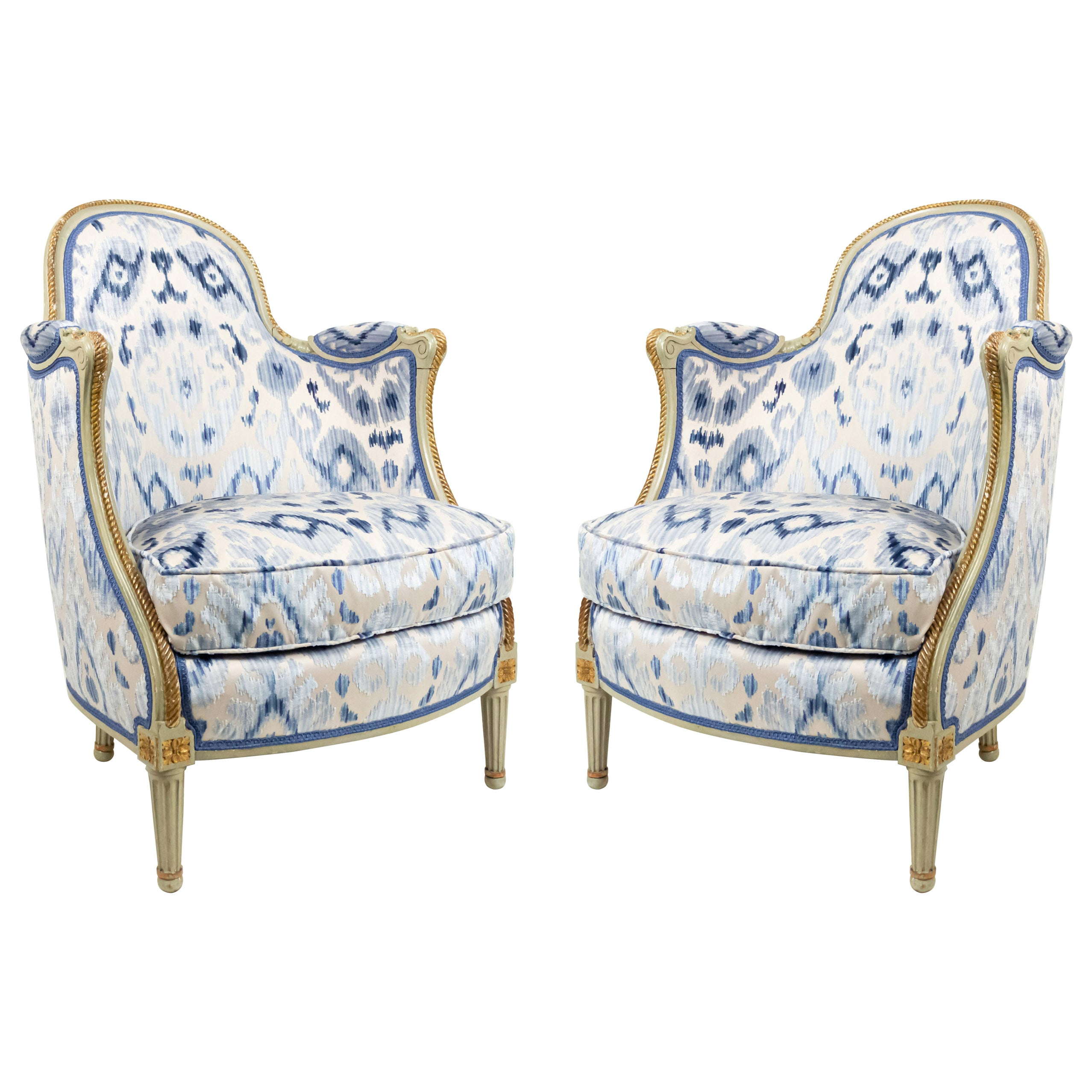 French Louis XV Bergére Armchairs