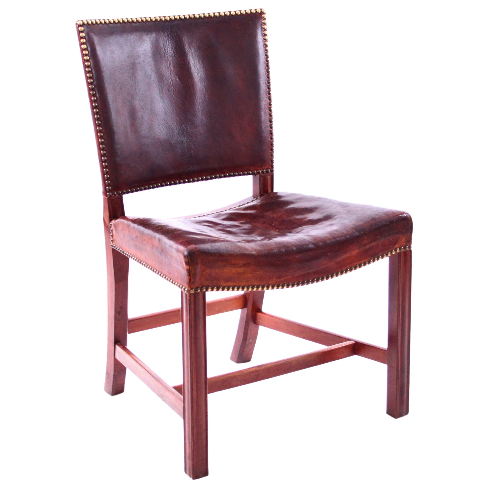 """Kaare Klint Large """"Red Chair"""" with Original Patinated Nigerian Leather"""
