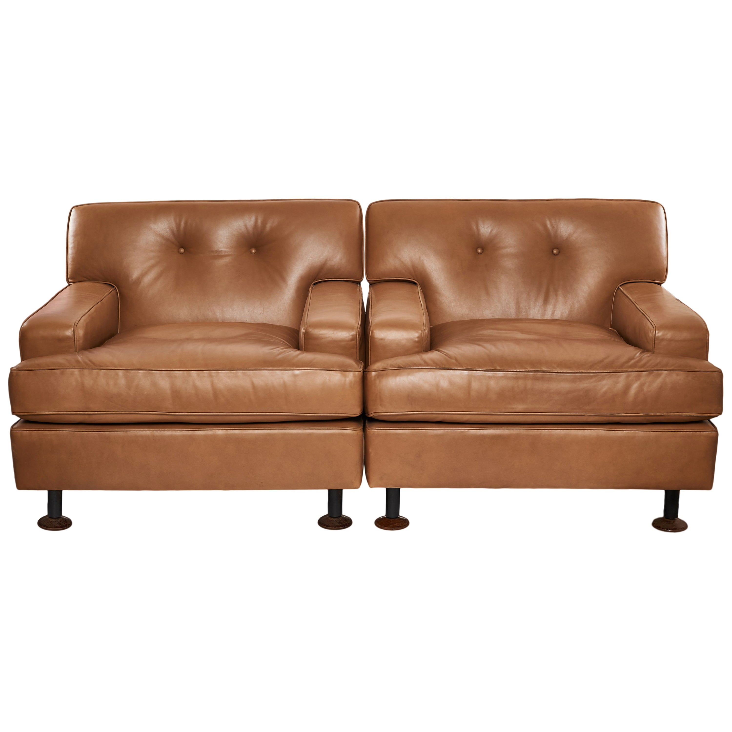 """Pair of Marco Zanuso """"Square"""" Brown Leather Lounge Chairs, Italy, 1962"""