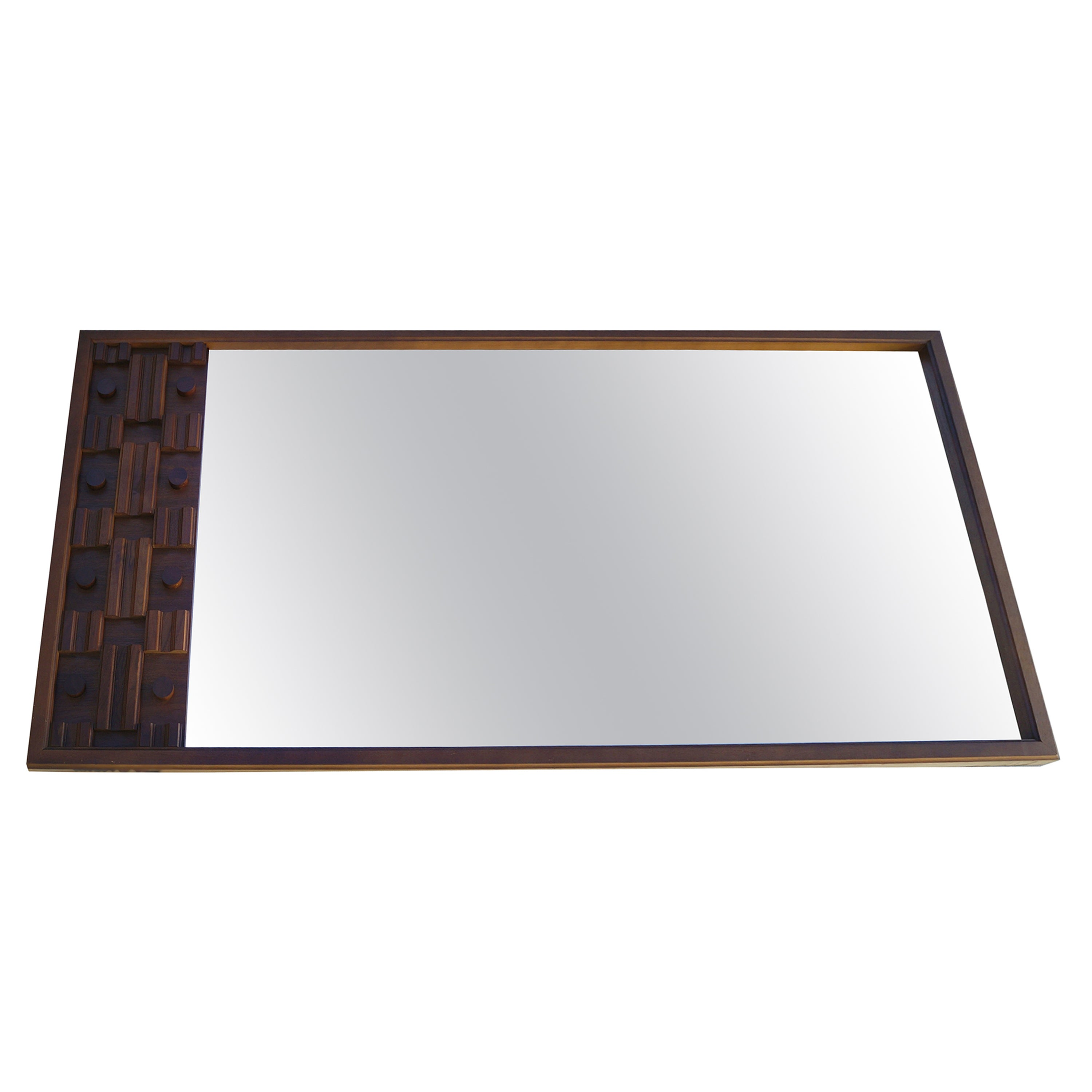 Mid-Century Modern Large Brutalist Long Sculpted Mirror