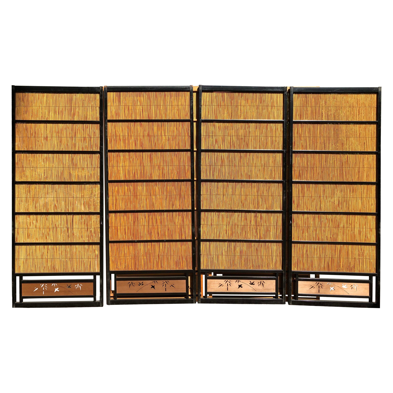 Japanese Set of Four Fine Black Lacquer Shoji Doors Screens Birds & Bamboo
