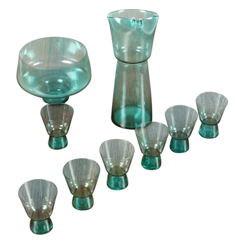 Midcentury Drink Pitcher, Bowl and Seven Glasses and by Jacob E. Bang, 1950s