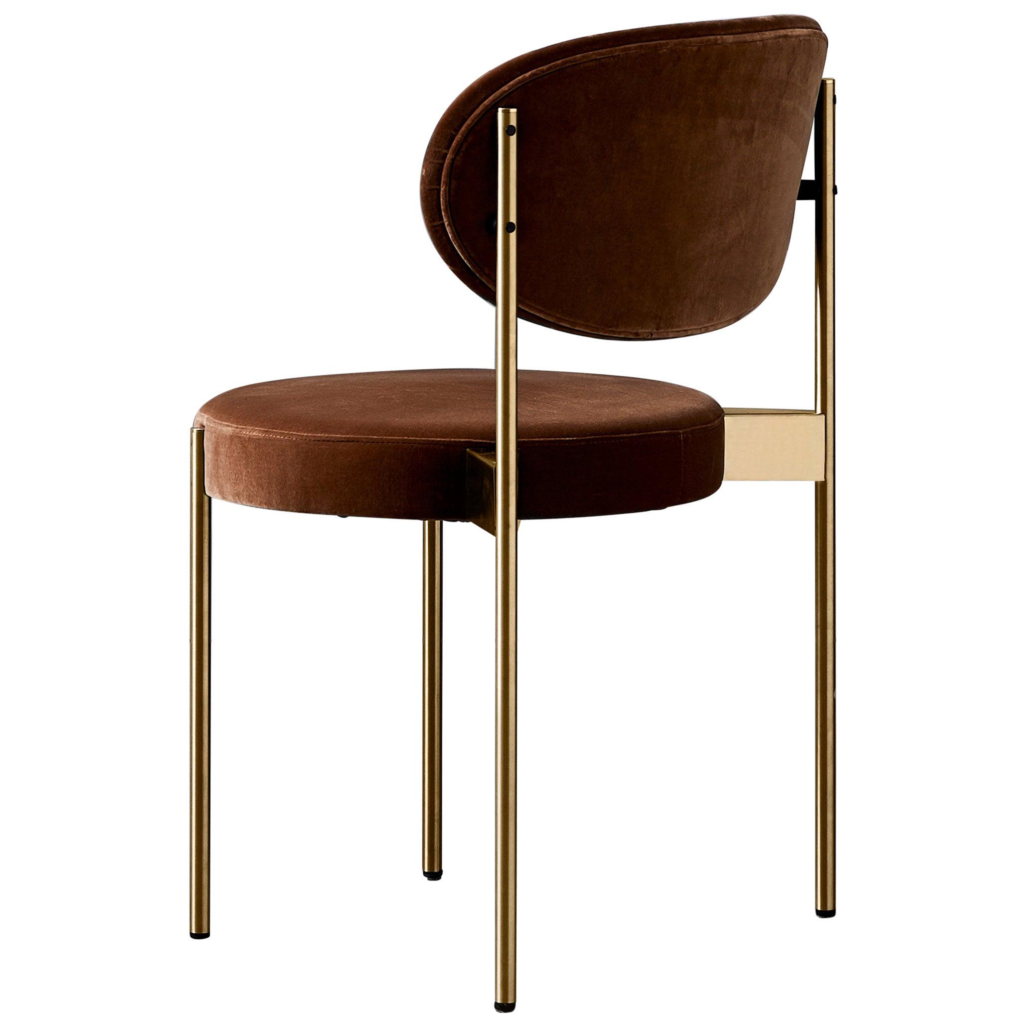 430 Chair in Brown Velvet by Verner Panton