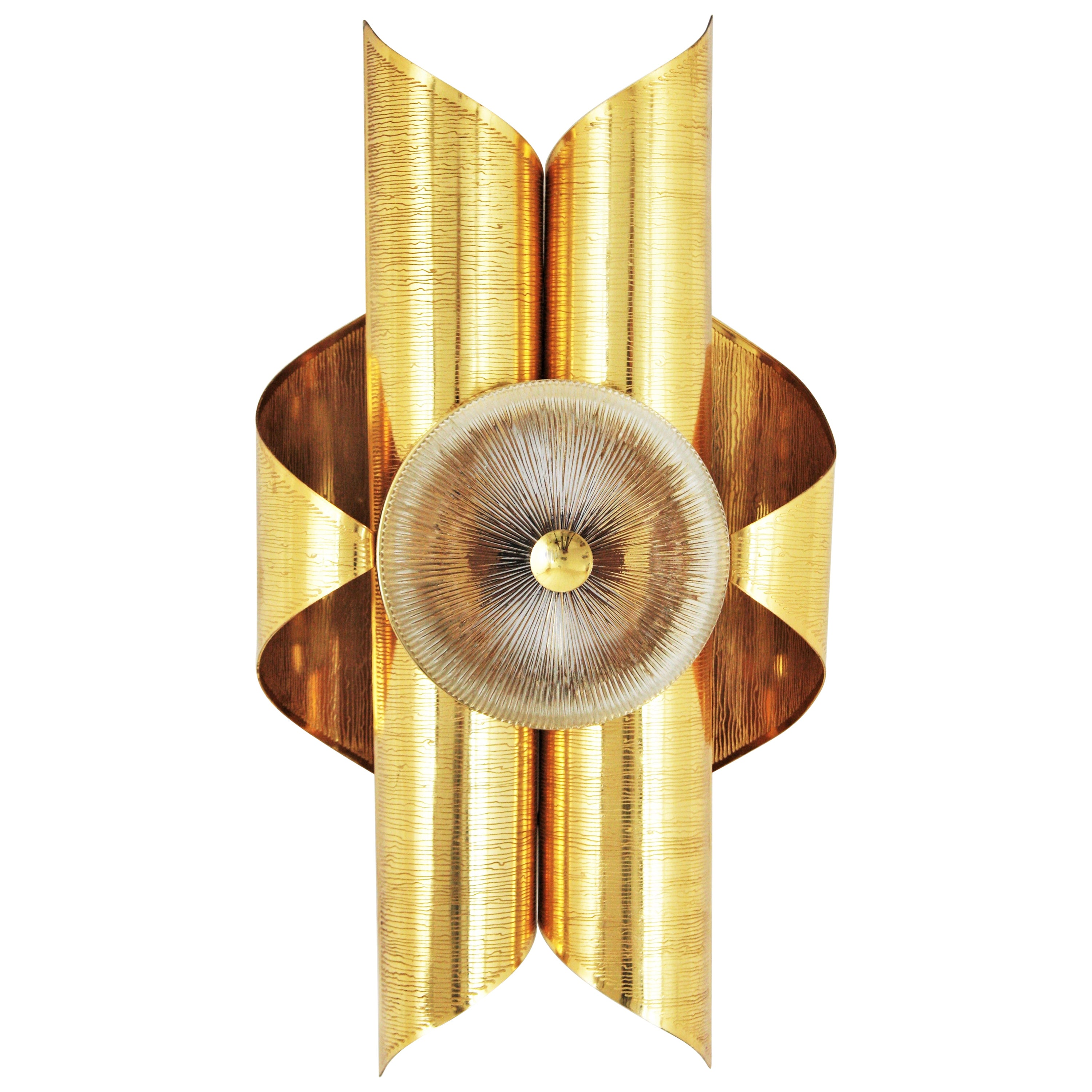 Sciolari Inspired Italian Modernist Gold-Plated Brass and Glass Wall Sconce