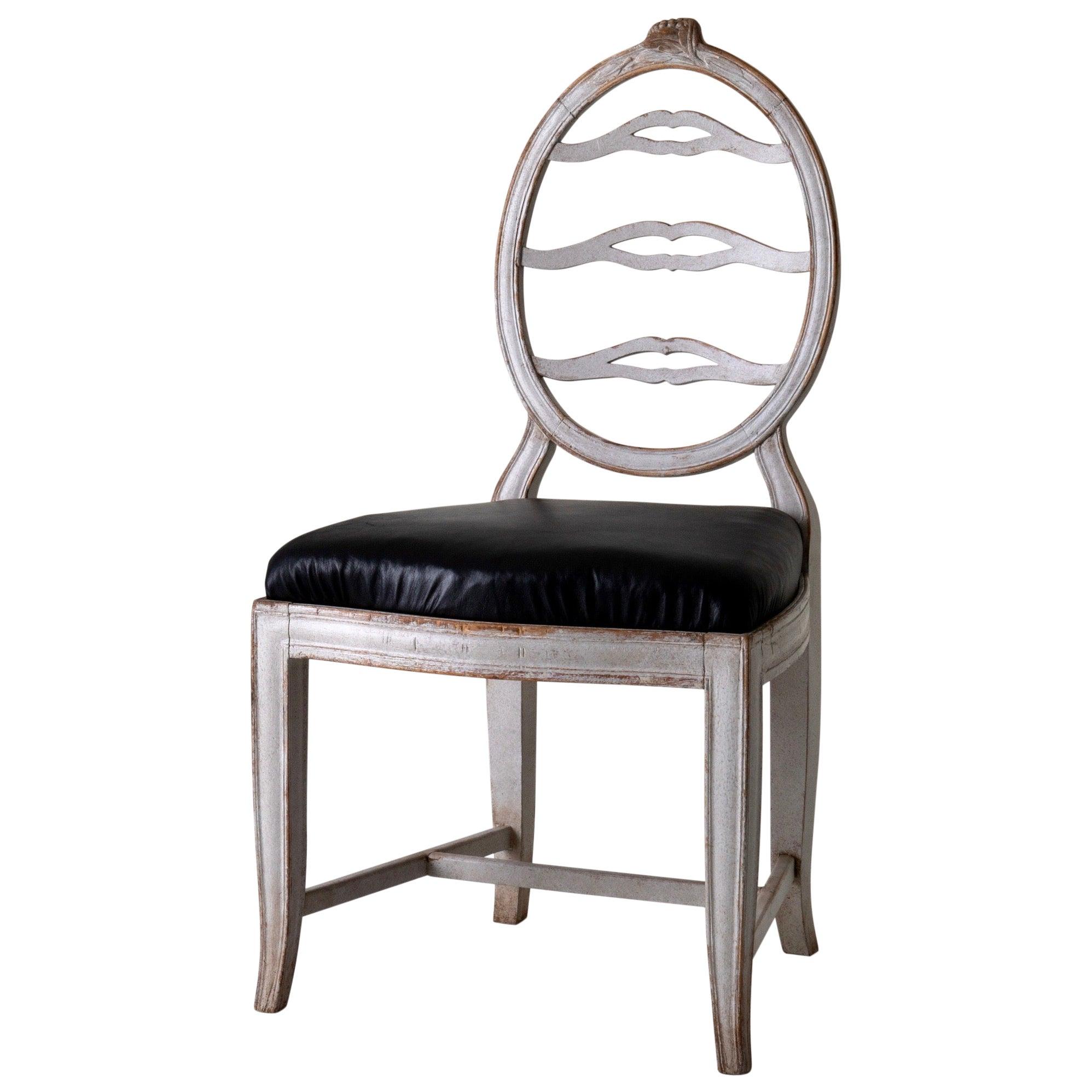 Chair Gustavian Swedish White Black Sweden