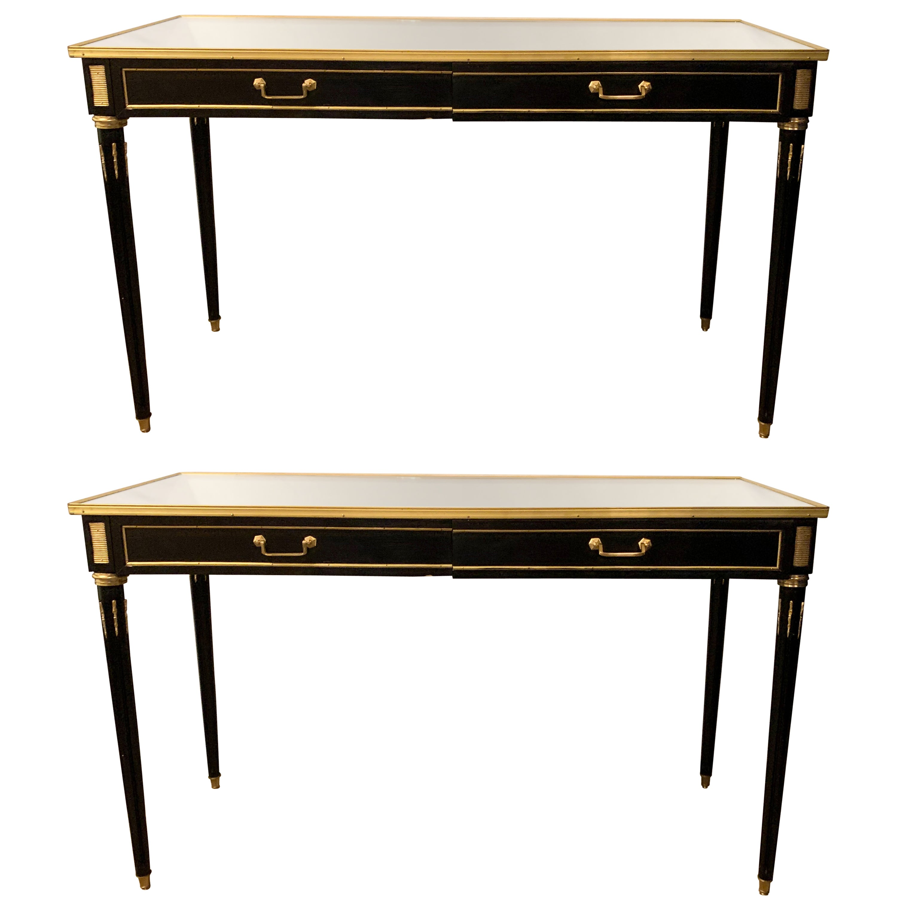 Ebony Maison Jansen Style Mirror Top Two-Drawer Consoles Table / Sideboards Pair