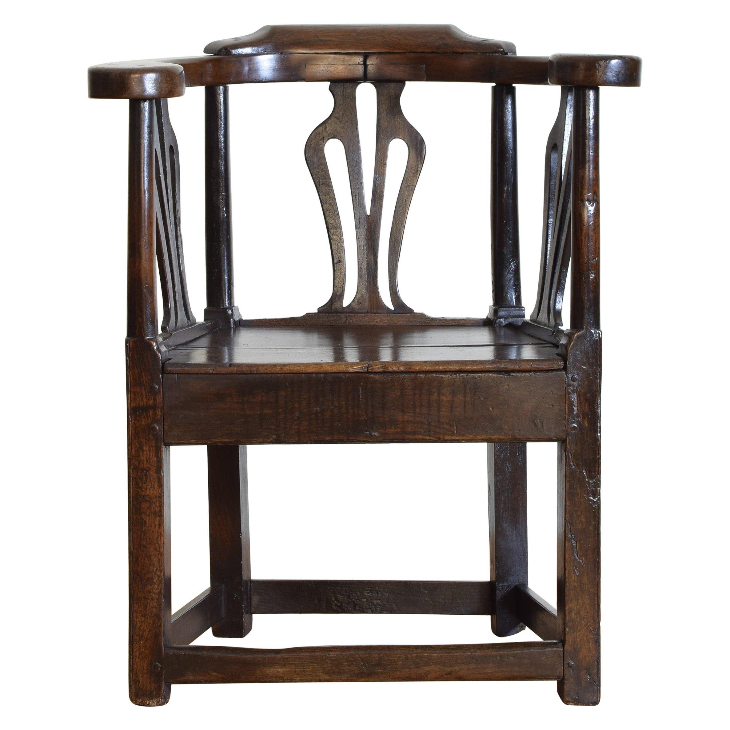 English, Georgian Period, Open Armchair in Dark Oak, circa 1800