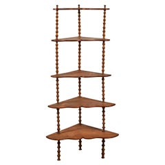 Early American Five spool Corner Shelf