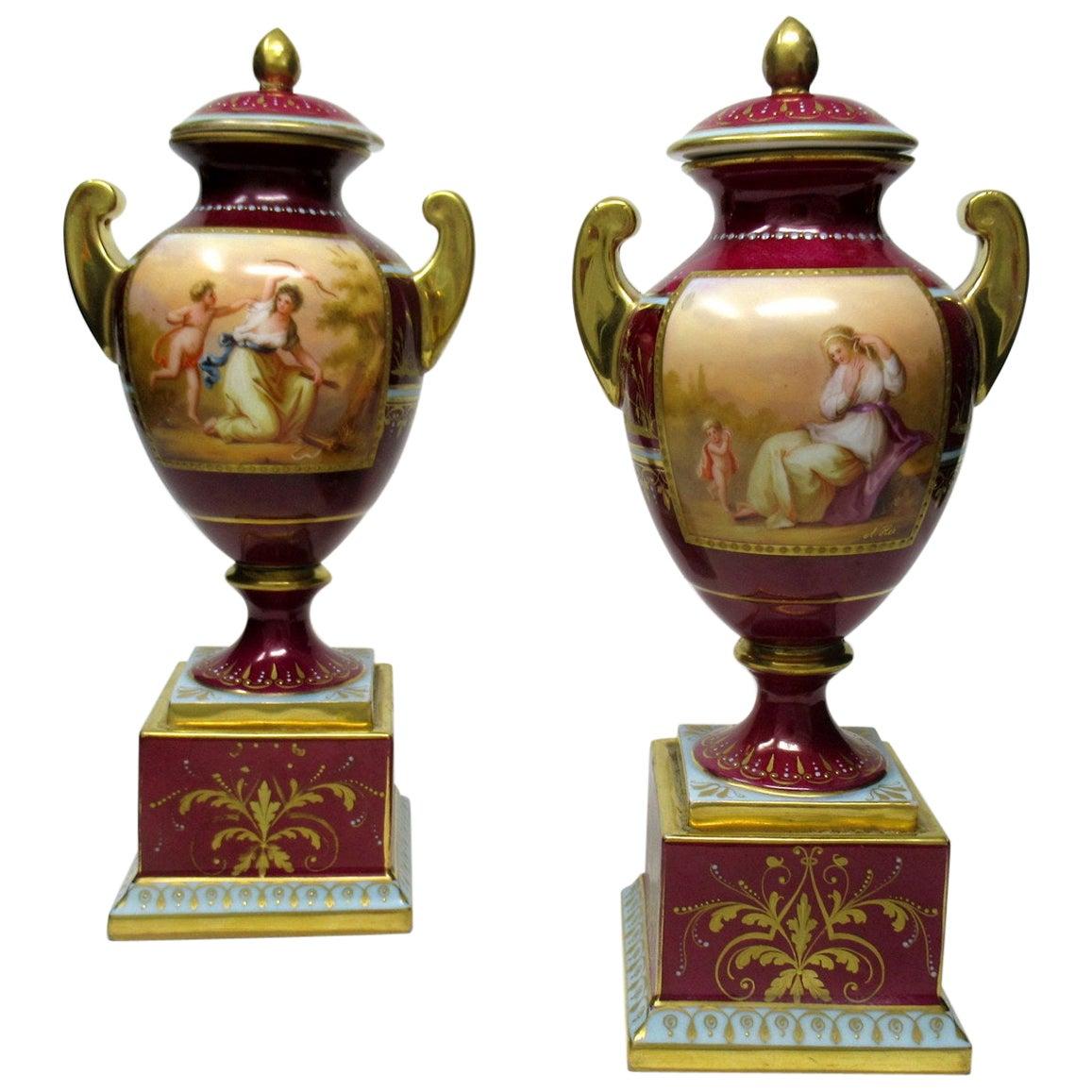 Fine Pair of Austrian Royal Vienna Mythological Themed Hand Painted Vases