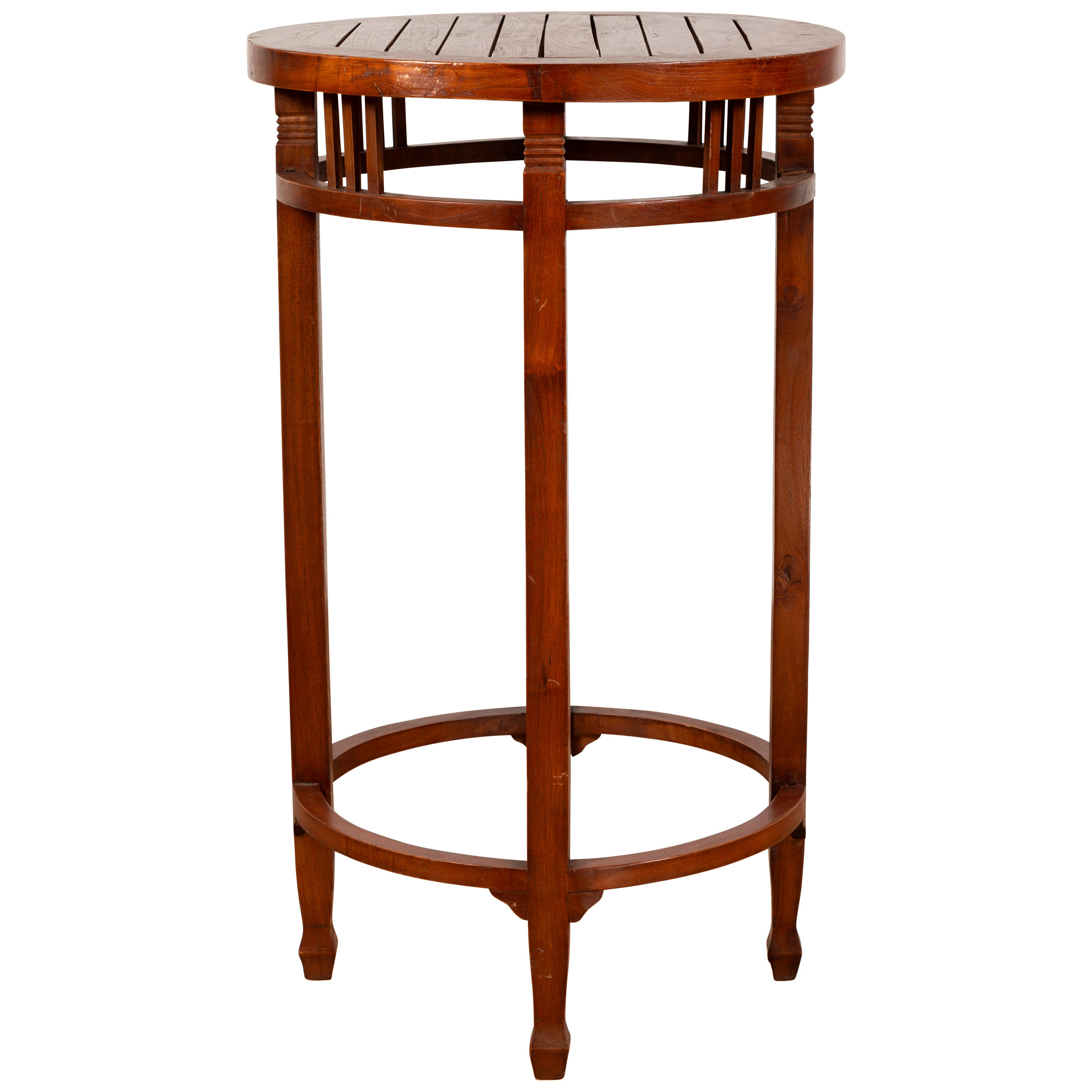 19th Century Indonesian Round Pedestal Table with Pierced Apron and Stretchers