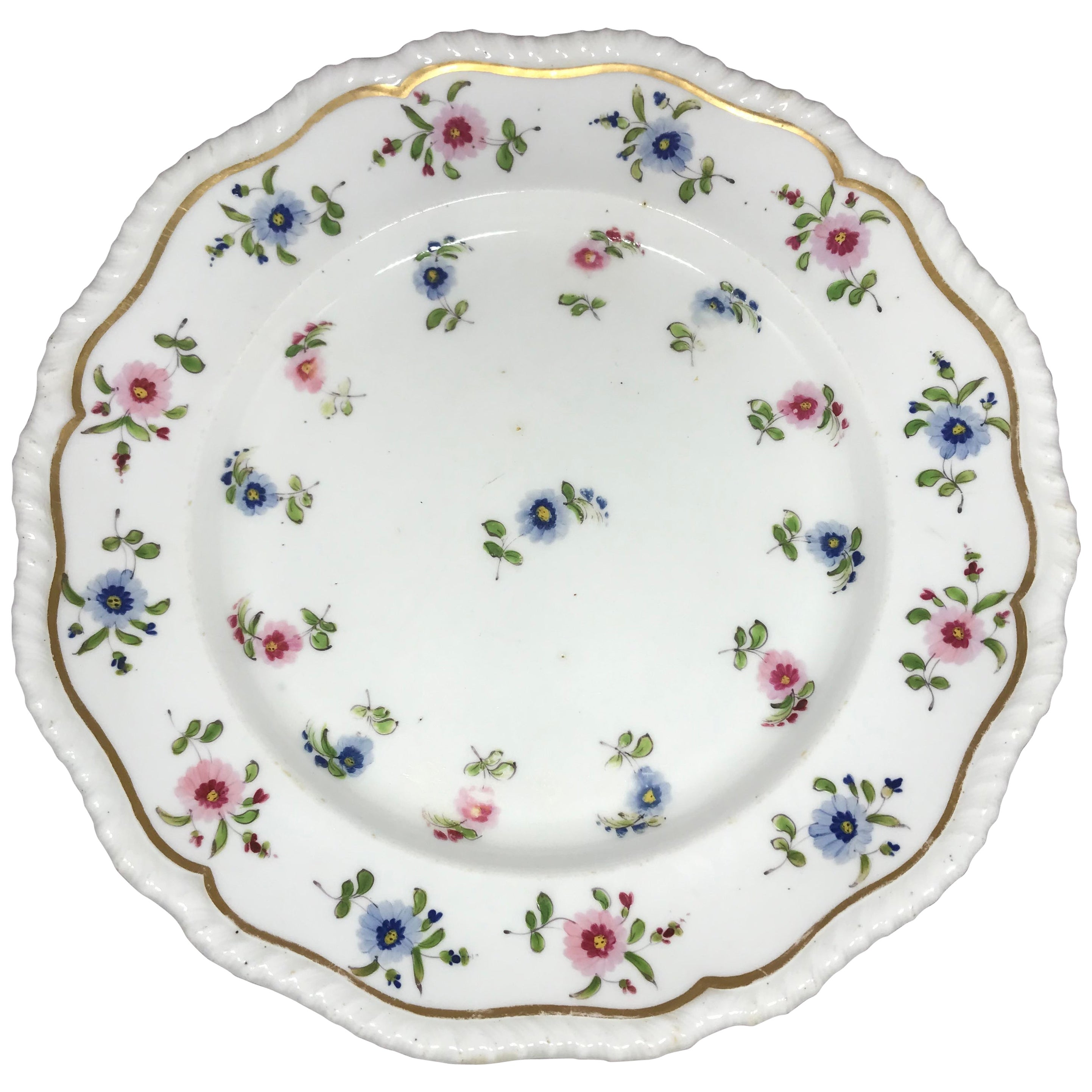 Set of Eight Blue and Pink Floral Plates