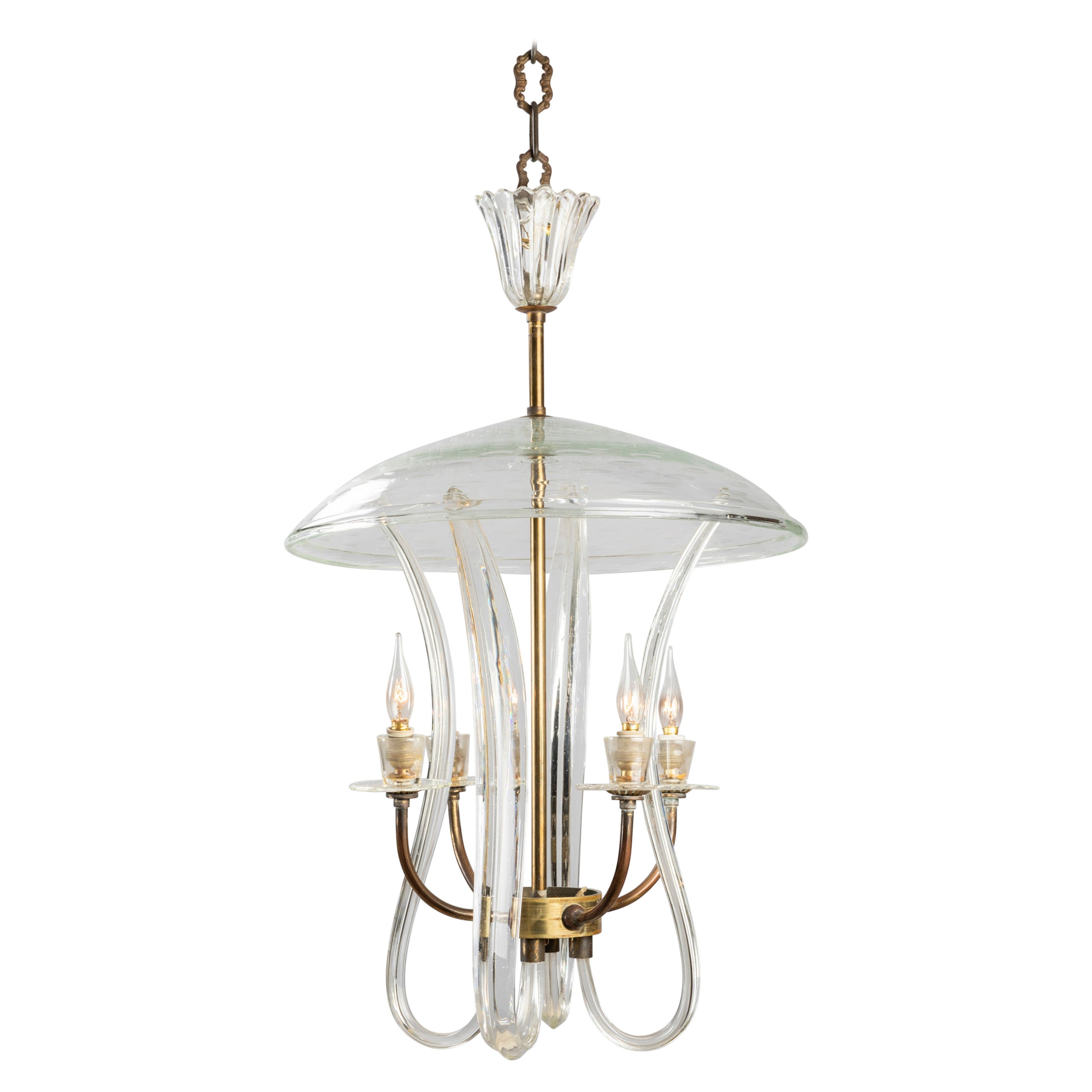 Barovier and Toso Ceiling Lamp in Murano Blown Glass, 1940s