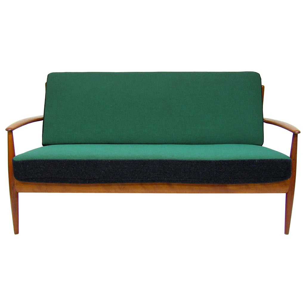 1950s Danish Sofa Loveseat by Grete Jalk in Teak and Kvadrat