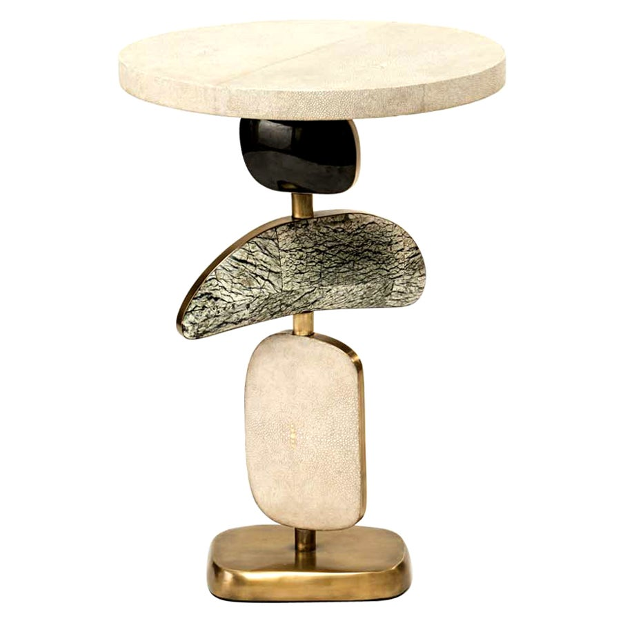 Cosmo Side Table in Cream Shagreen, Stone and Bronze-Patina Brass by Kifu, Paris