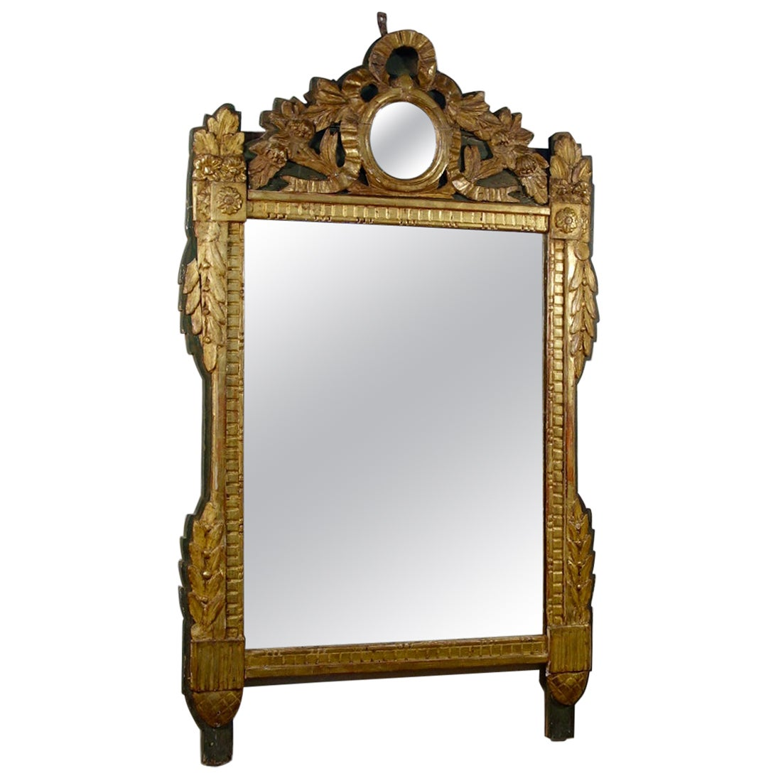 Large French late 18th Century Louis XVI Giltwood Wall Mirror, Overmantel