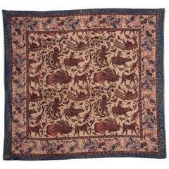 Fanciful Mid-20th Century Indonesian Cotton Batik Wall Hanging