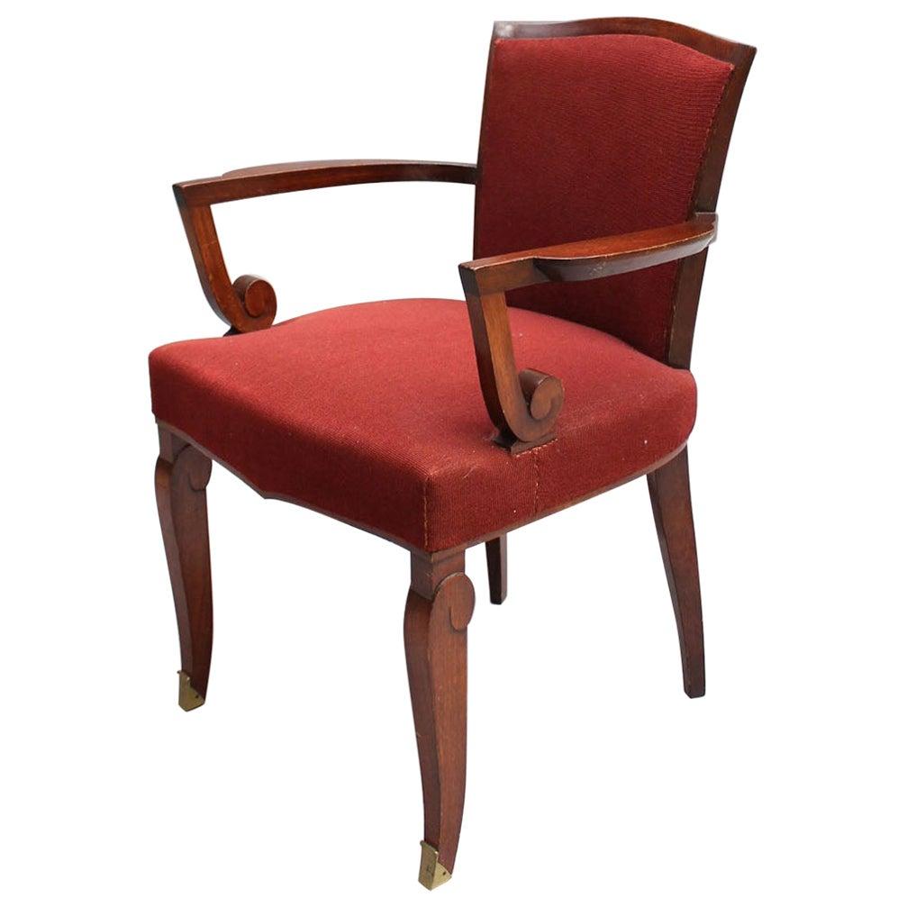 Fine French Art Deco Mahogany Armchair by Jules Leleu