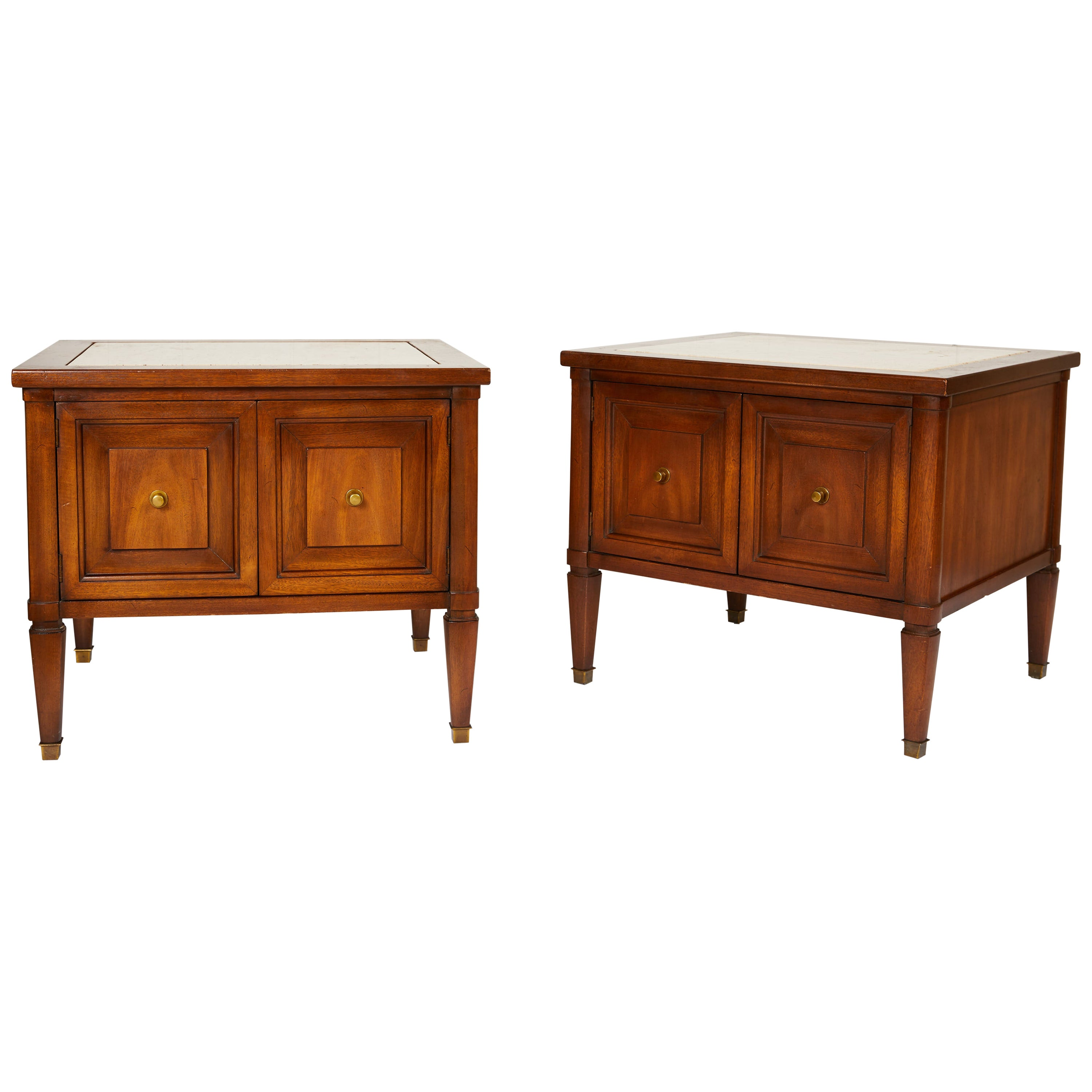 Midcentury Italian Walnut End Tables Inset with Travertine Tops