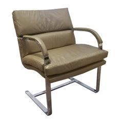Heavy Steel Brueton Chair in Leather