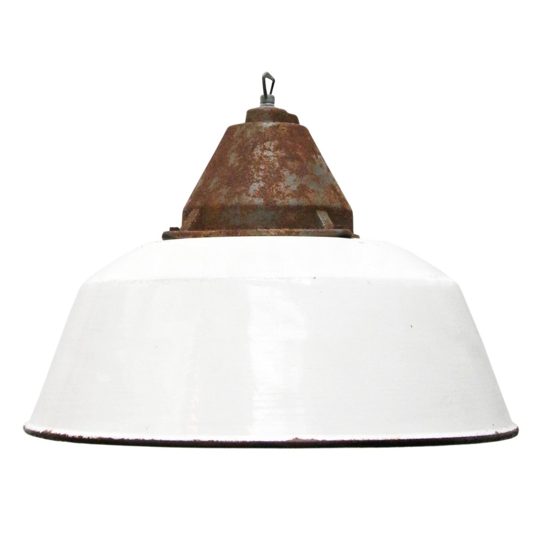 White Enamel Vintage Industrial Cast Iron Factory Pendant Lights
