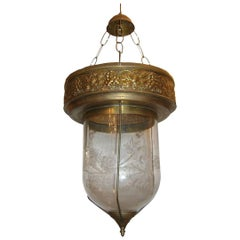 Etched Glass Lantern with Brass Fittings
