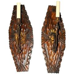 Carved Wood and Gilt Metal Sconces