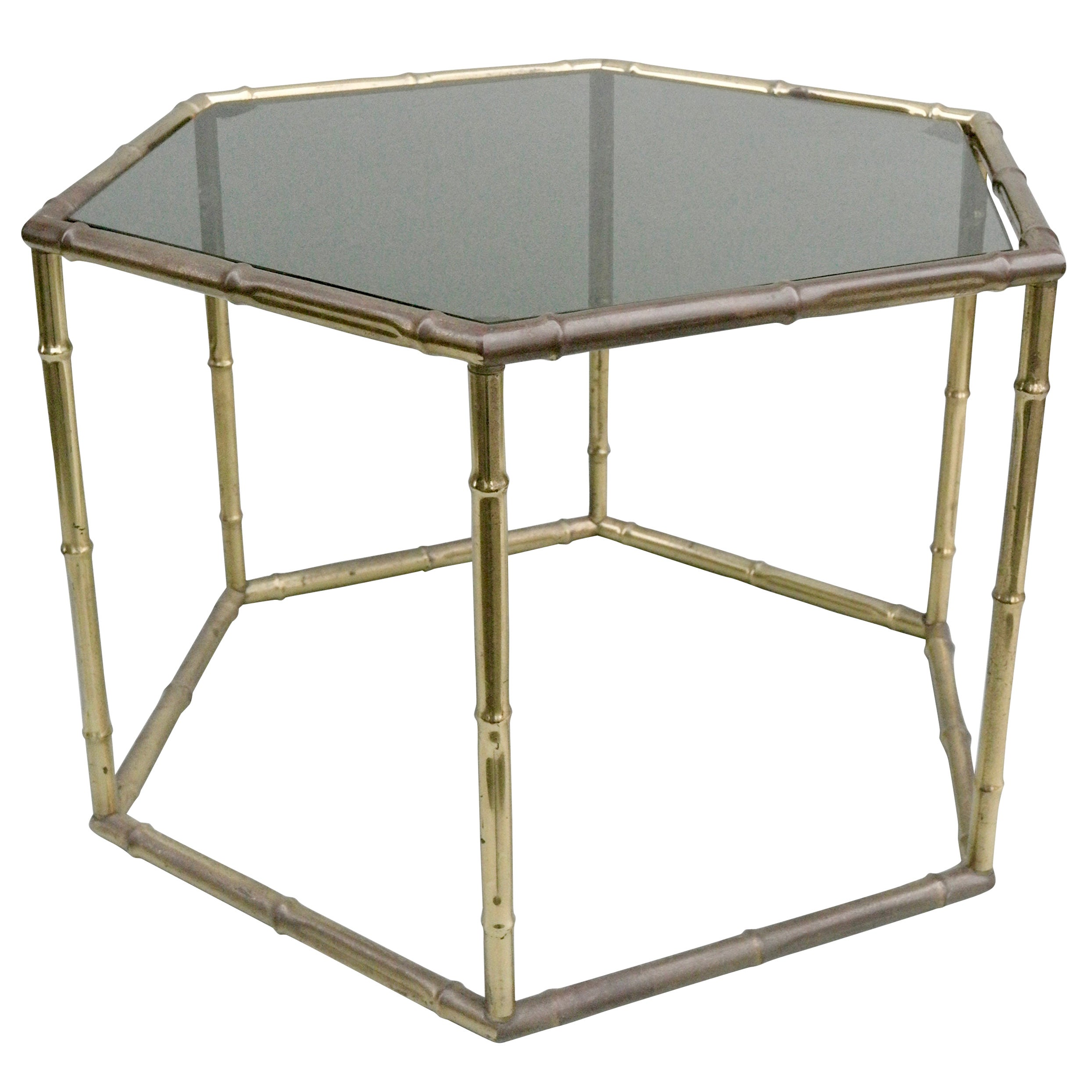 French Symmetrical Gold Metal Bamboo Side Table with Dark Glass Top