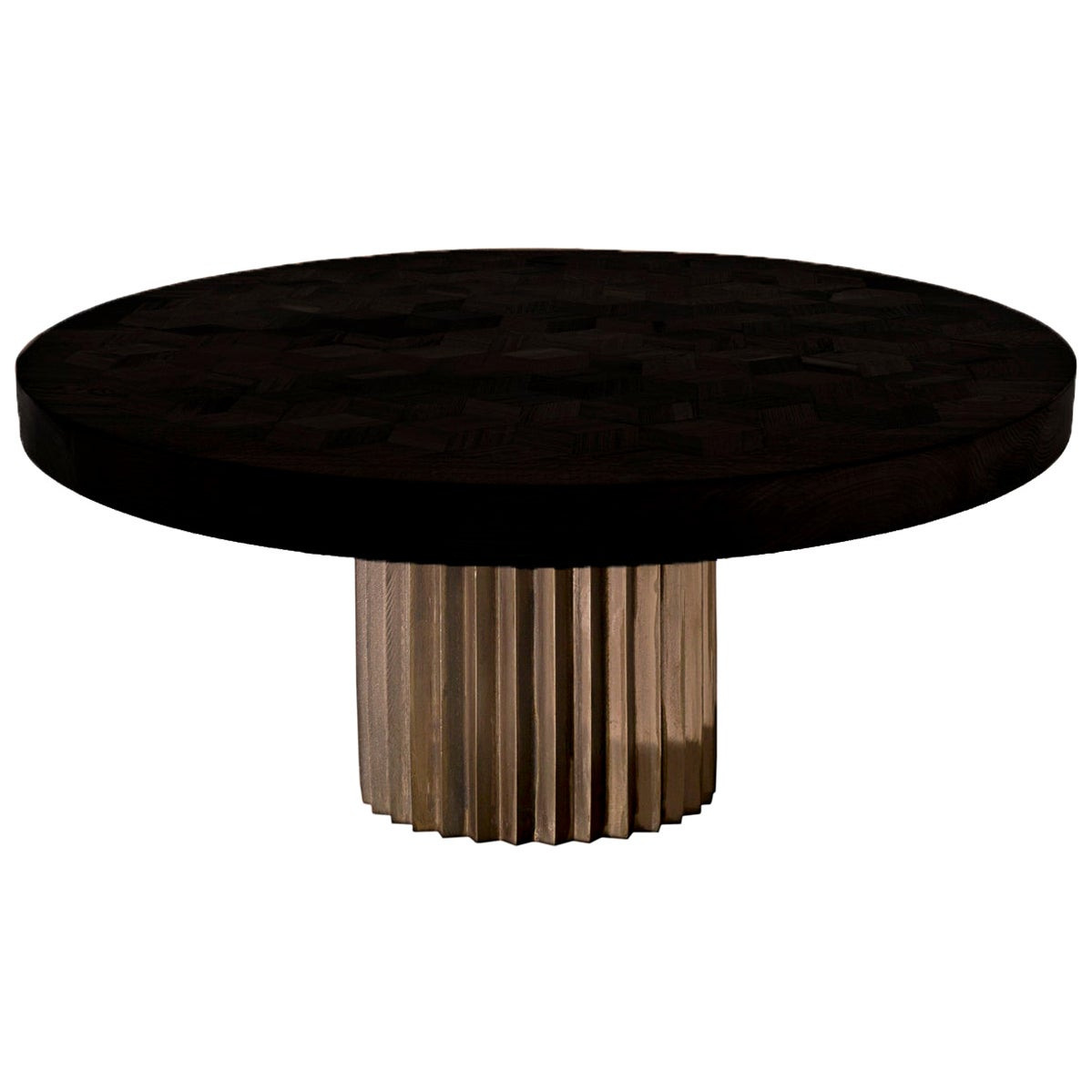 Doris Round Marquetry Table in Ebonized Reclaimed Oak with Cast Bronze Pedestal