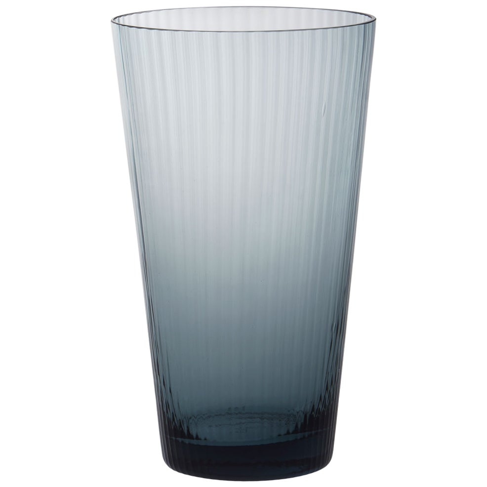 Vaso Squadrato28, Vase Handcrafted Muranese Glass, Aquamarine Plisse MUN by VG