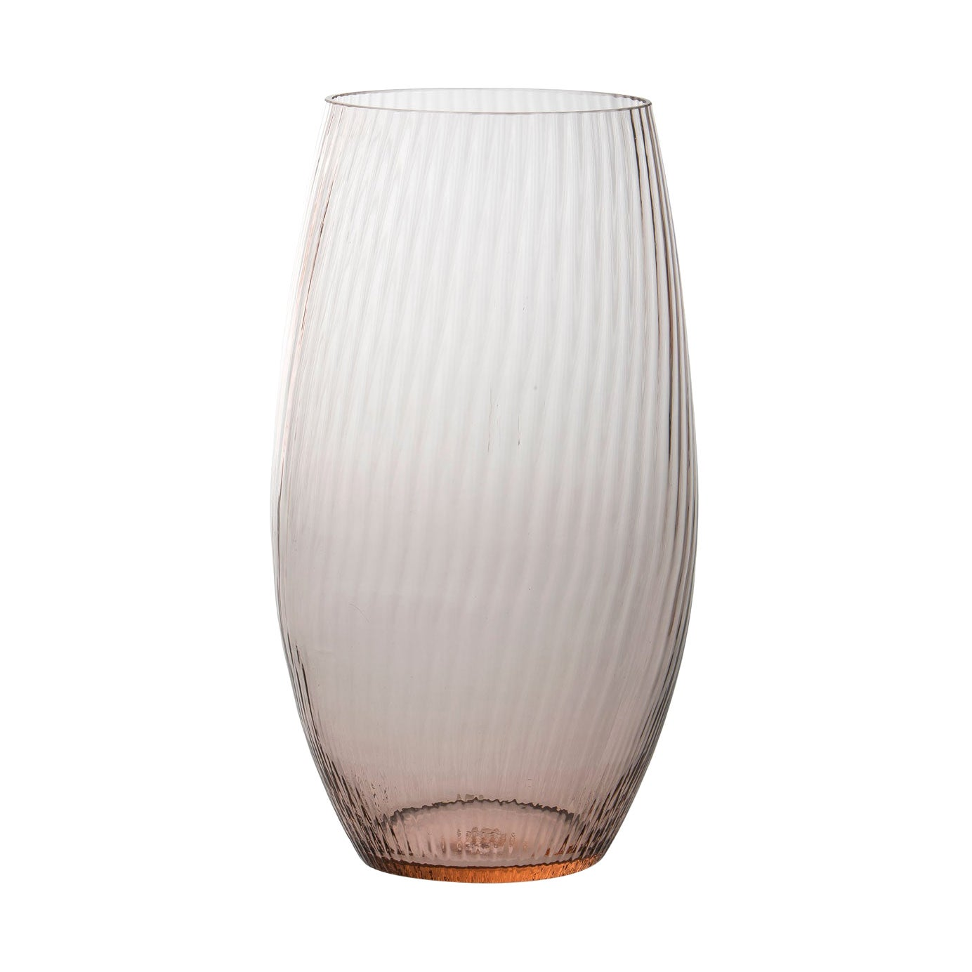 Vaso Ovale28, Vase Handcrafted Muranese Glass, Rose Quartz Plisse MUN by VG