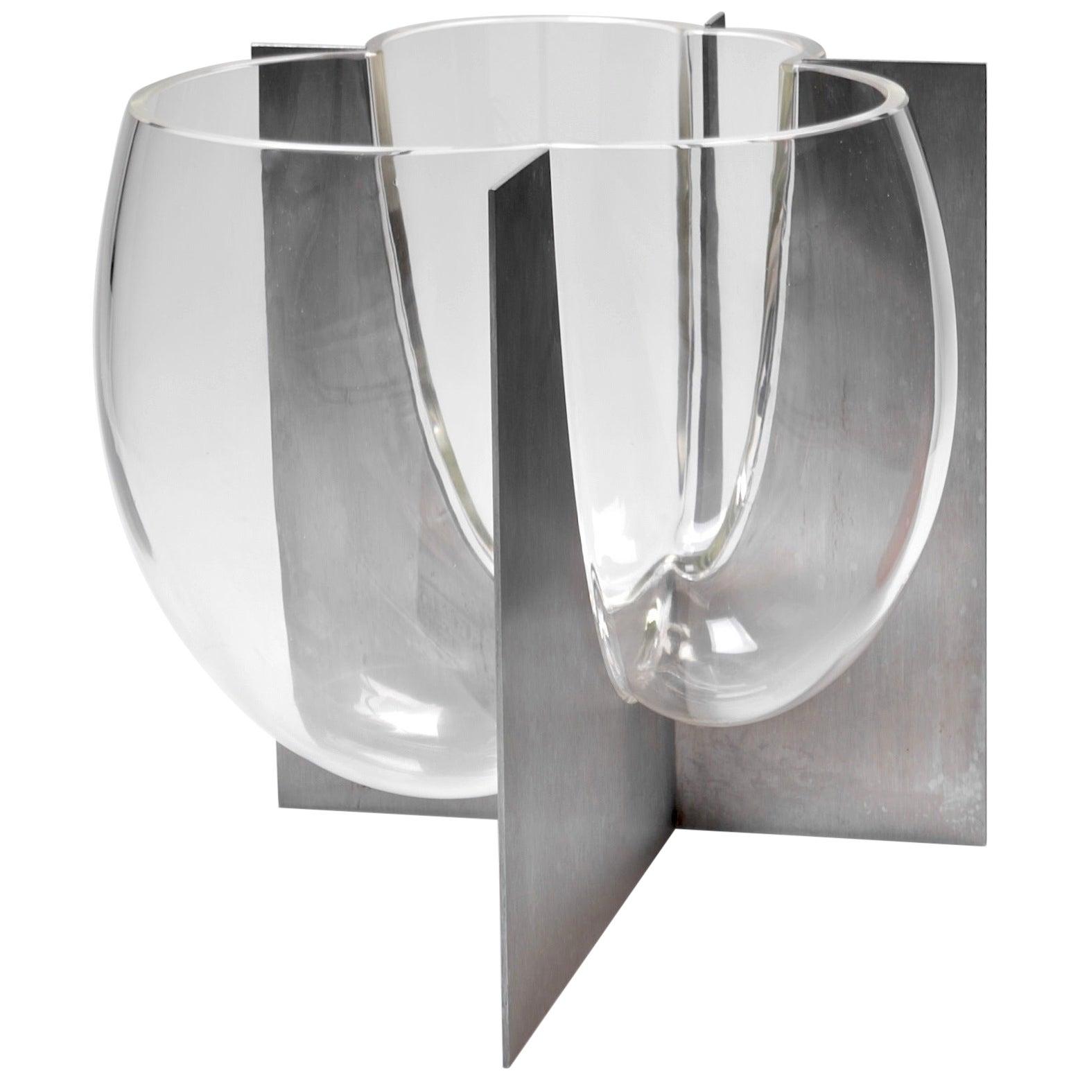 Carlo Nason Murano Glass Vase Set in Steel