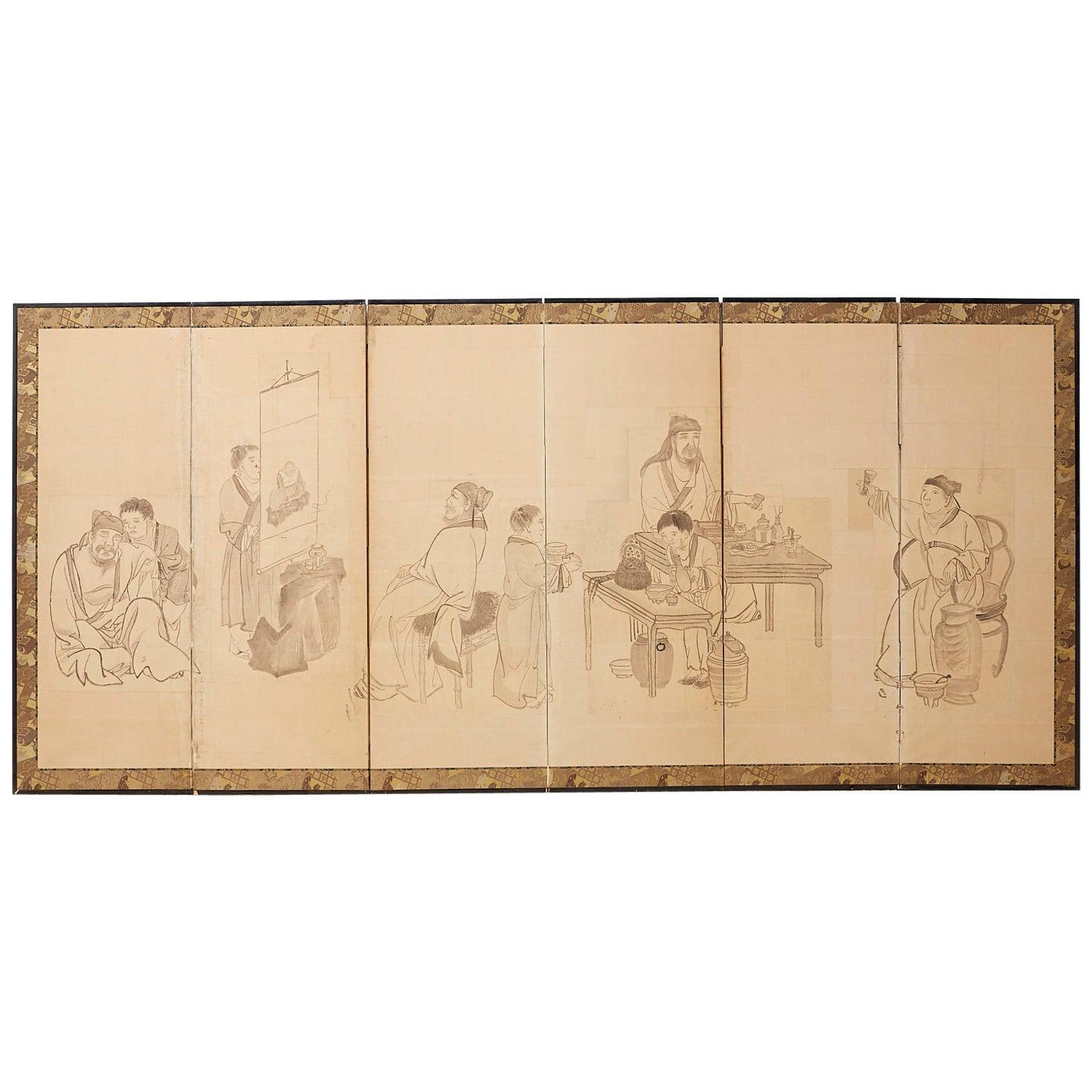 Japanese Edo Period Six Panel Screen of Chinese Scholars