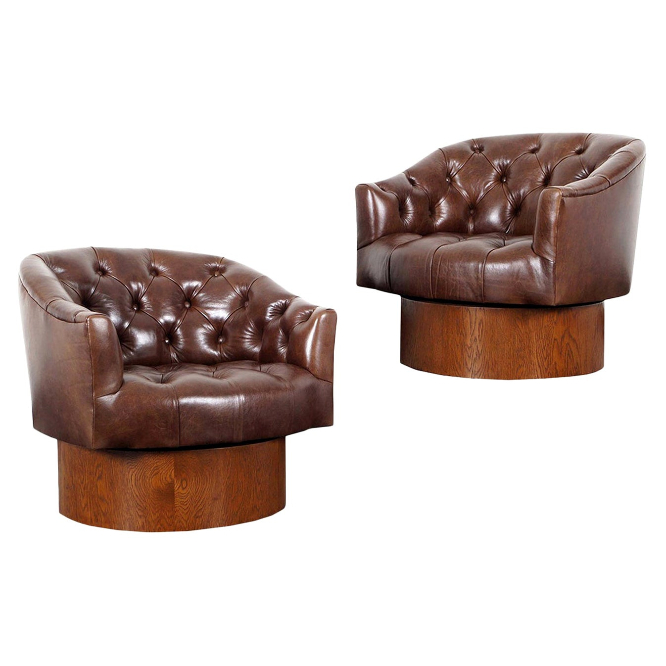 Vintage Leather Swivel Lounge Chairs by Milo Baughman