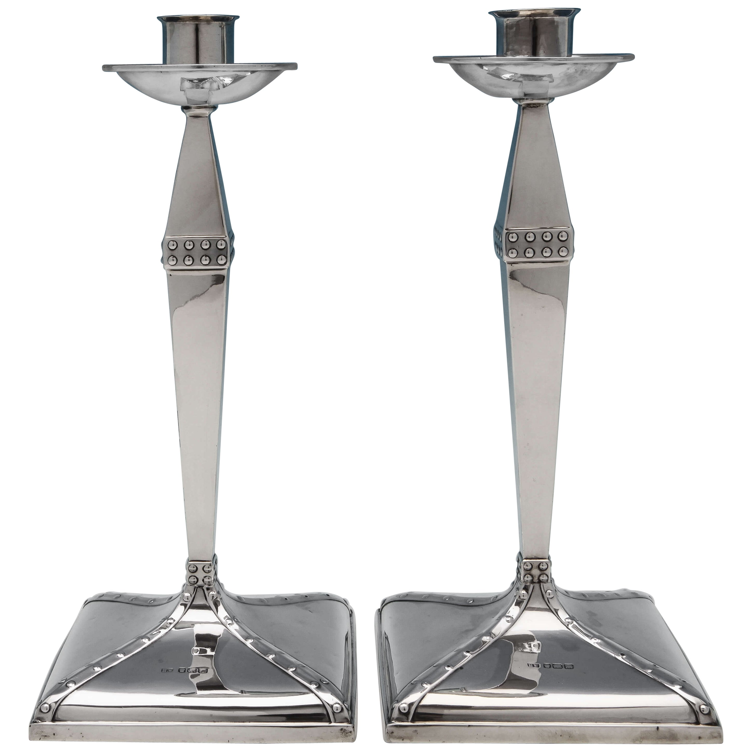 Arts & Crafts Period Sterling Silver Candlesticks With Rivet Detailing from 1904