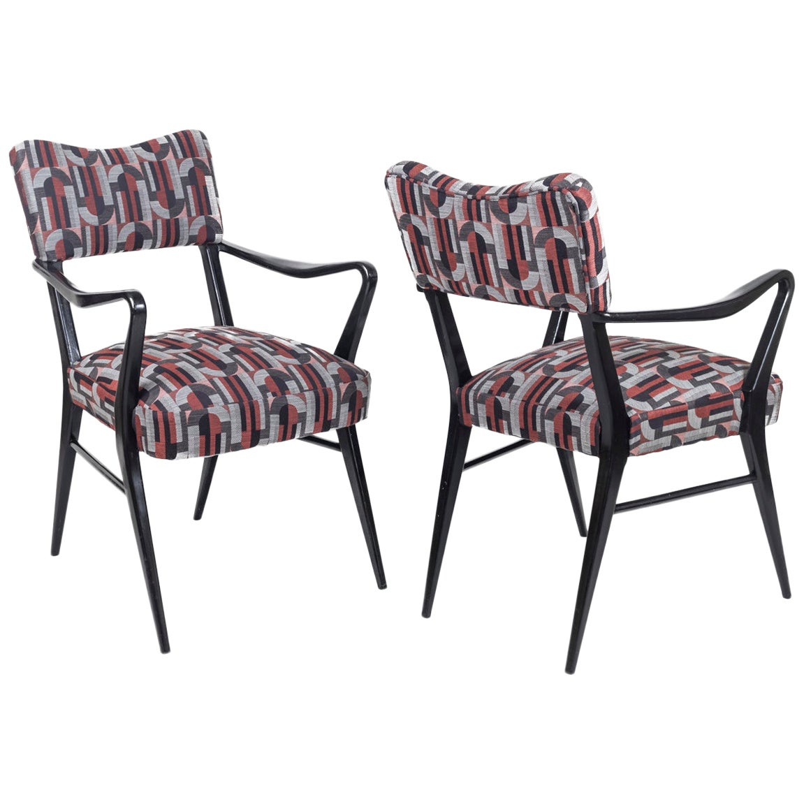 Pair of Armchairs in Black Lacquered Wood, 1970s