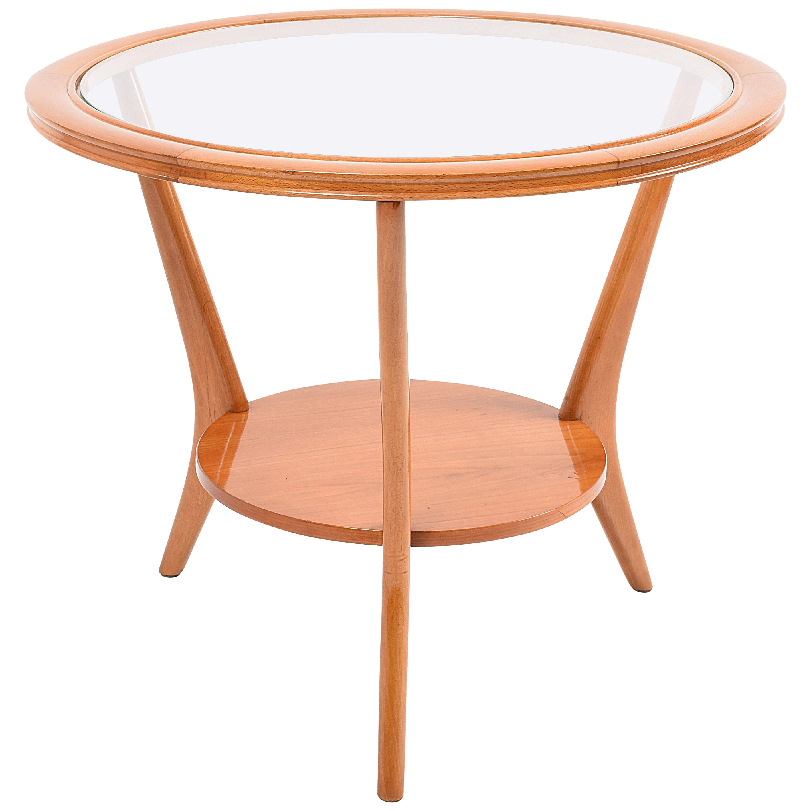 Midcentury Glass and Wood Italian Coffee Table after Gio Ponti, 1950s