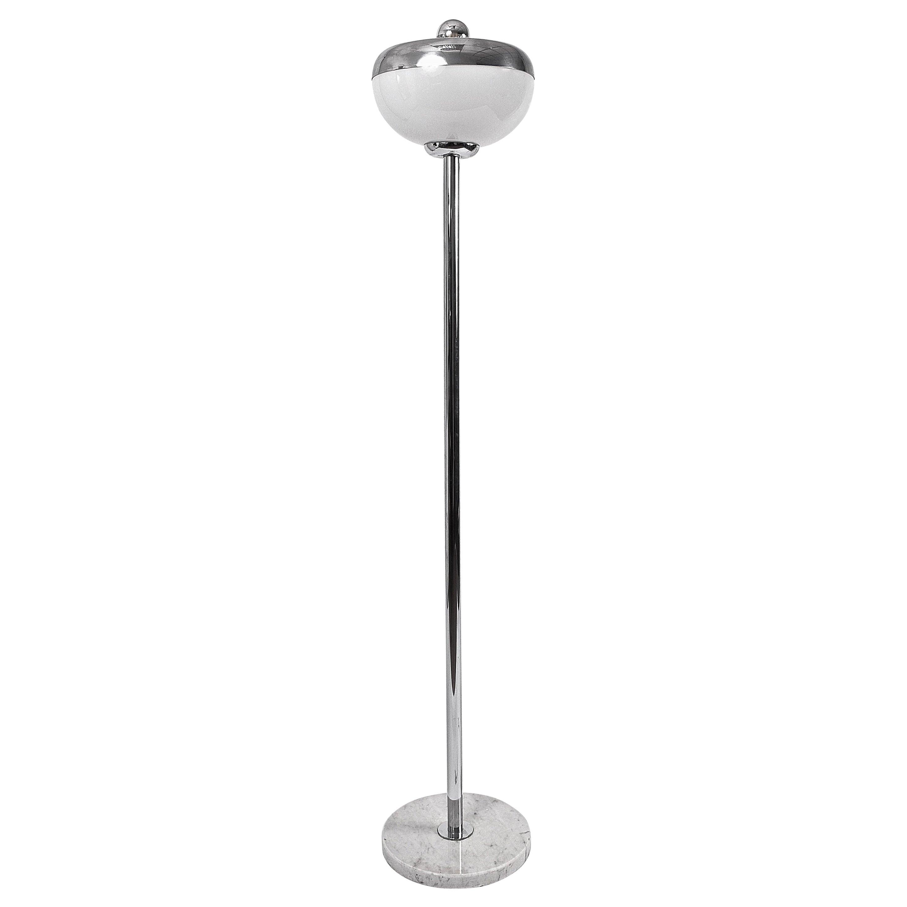 Midcentury Metal, Aluminium and Carrara Marble Base Italian Floor Lamp, 1970s