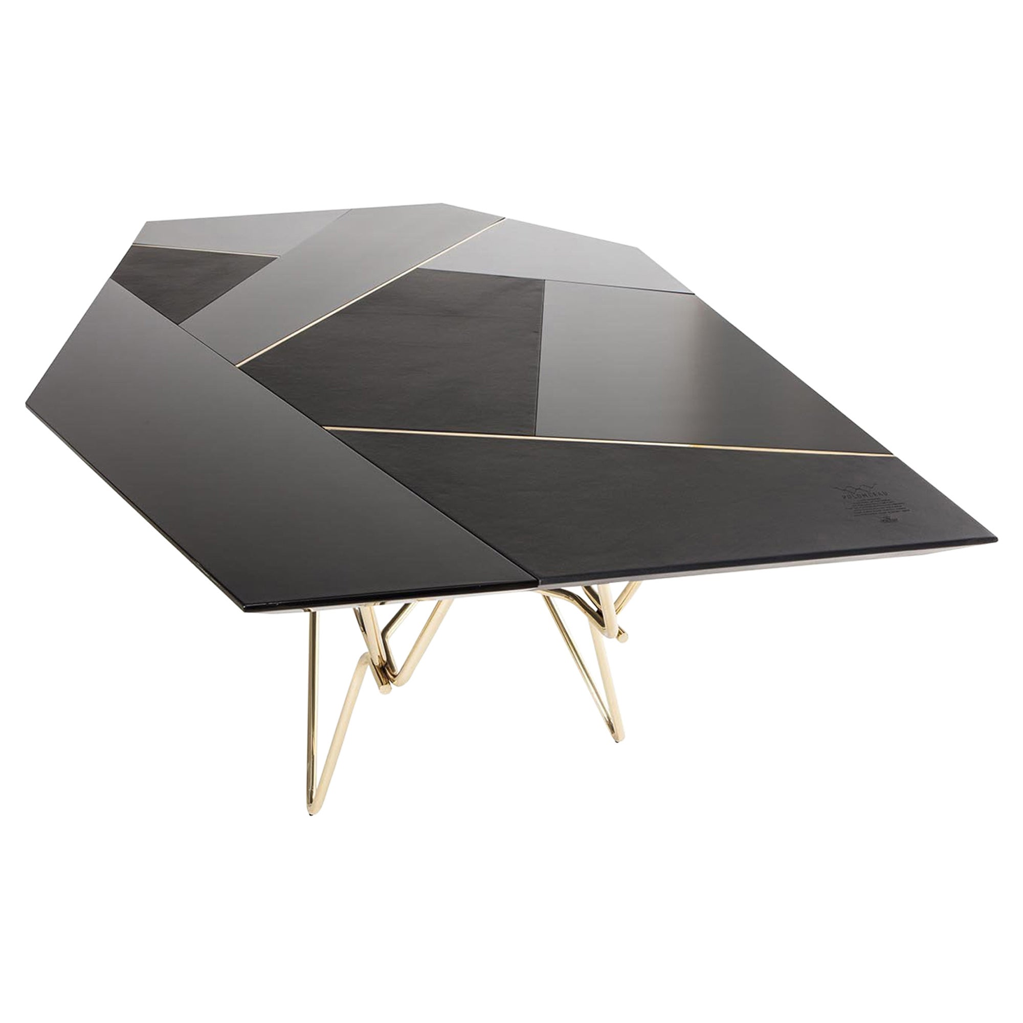 Modern and Structural Dinning Table, Brass Legs and Leather Top