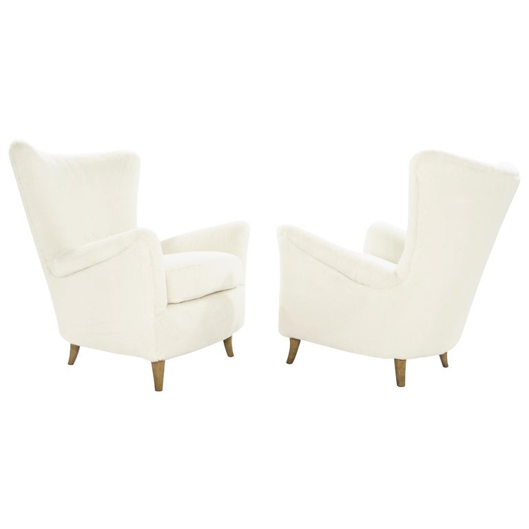 Gio Ponti Lounge Chairs in Shearling for the Hotel Bristol, circa 1950s For Sale