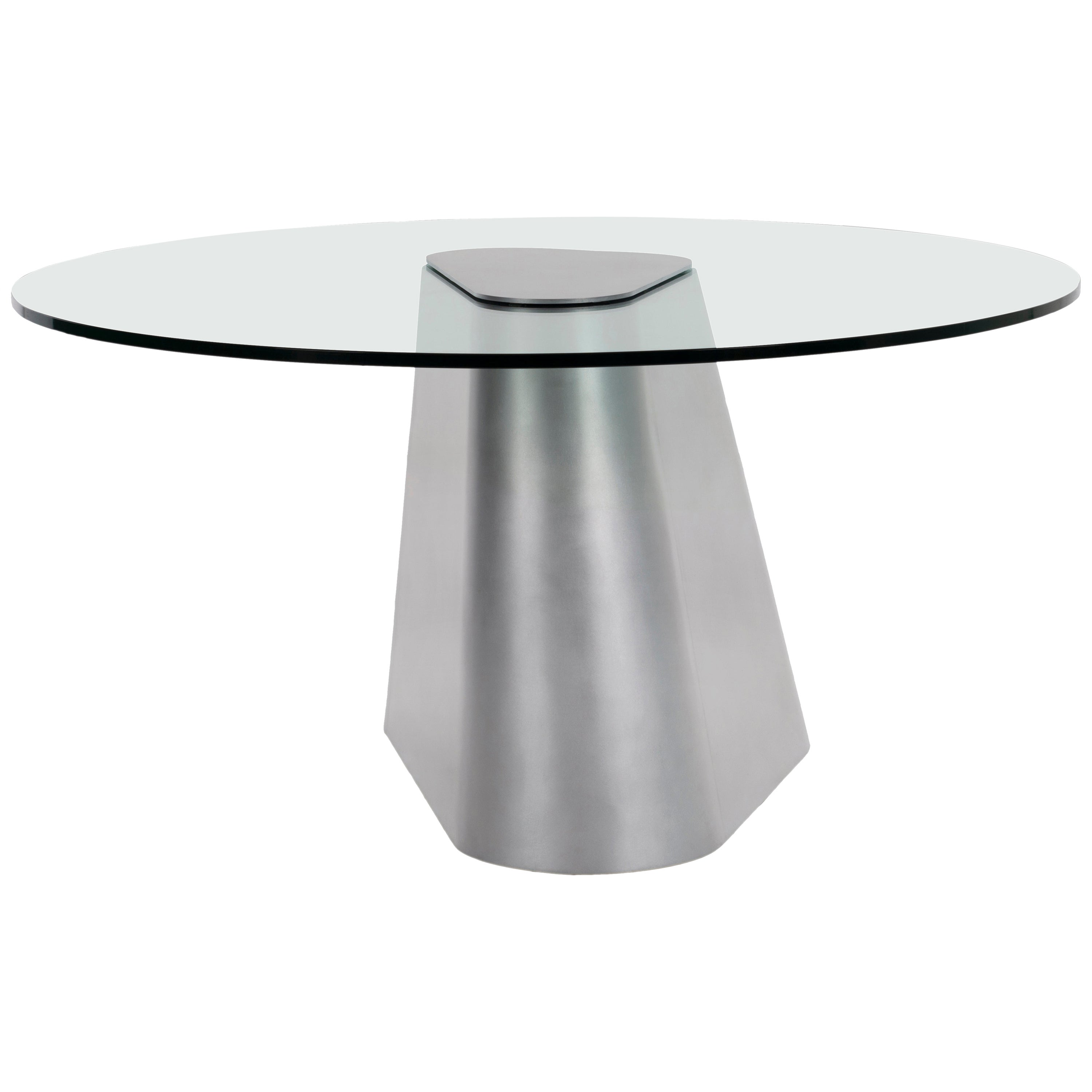 Sculptural TM Dining Entry Table in Waxed Aluminum and Glass by Jonathan Nesci