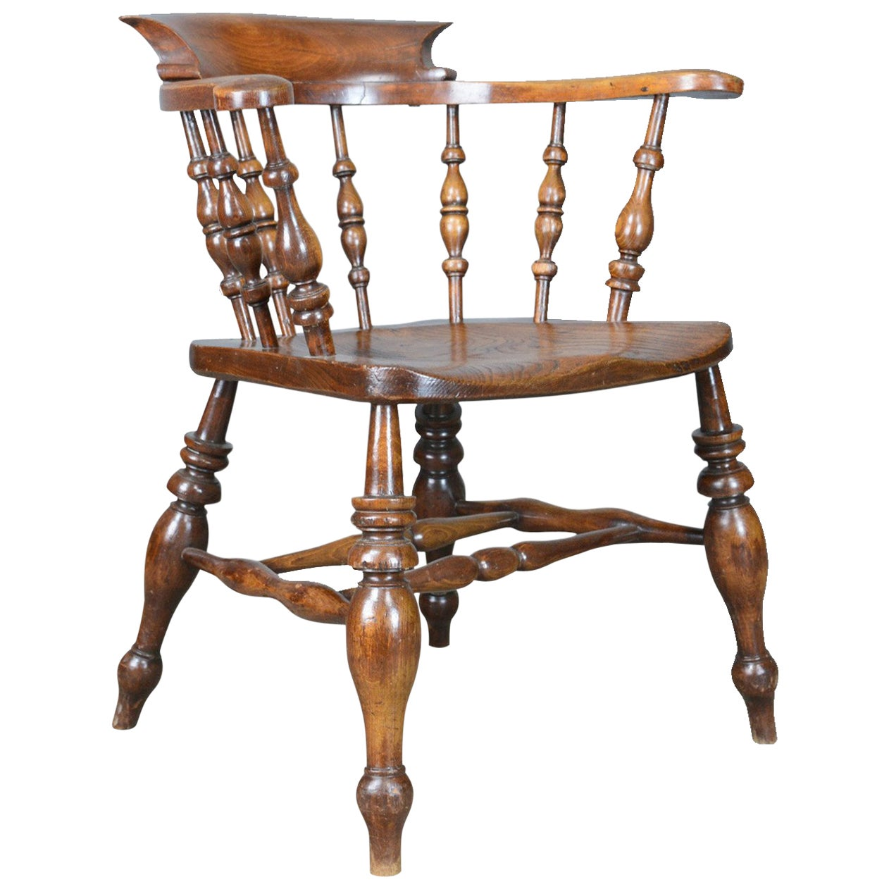 Antique Bow Chair, Smokers Captains English Victorian Elm Windsor, circa 1870