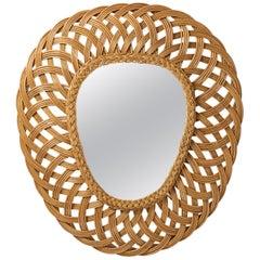 Large French Rattan Mirror, circa 1970
