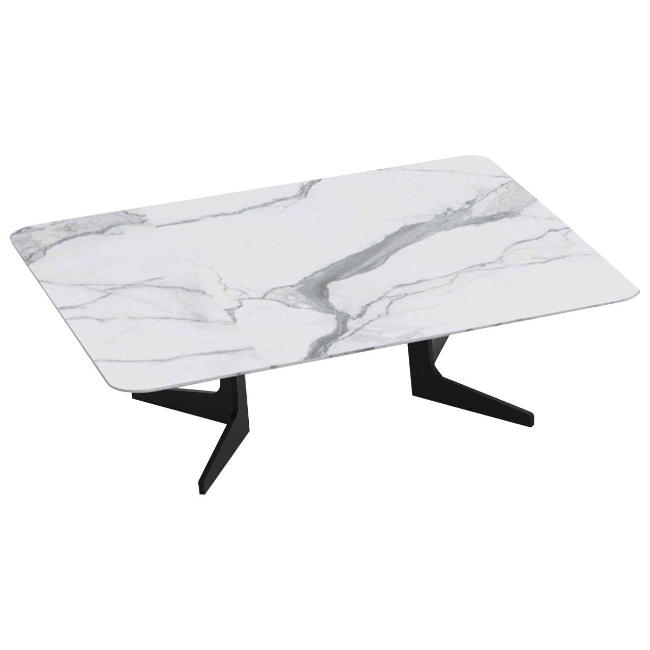 Blake Rectangular Coffee Table with Calacatta Marble Top