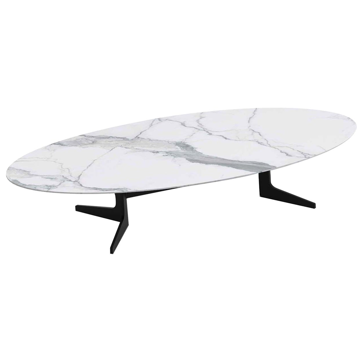 Blake Oval Coffee Table with Calacatta Marble Top